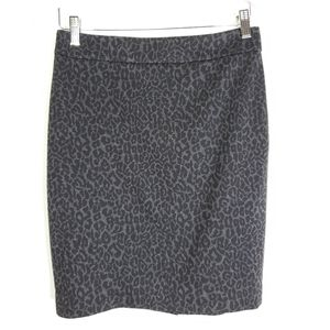 LOFT Animal Leopard Print Gray Black Pencil Skirt